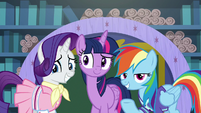Rarity, Twilight, and Rainbow smile at students S8E17