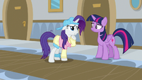 Rarity wonders about Twilight's eye patch S8E16