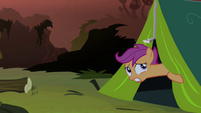 Scootaloo peeking out of tent S3E6