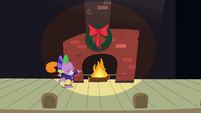 Spike next to fireplace S2E11