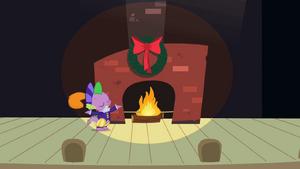 Spike next to fireplace S2E11