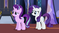 Starlight and Rarity staring at Pinkie Pie S6E21