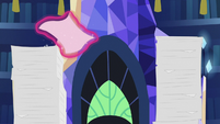 Tall stack of princess paperwork S7E22