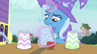 Trixie puts red ball under the middle cup S7E24