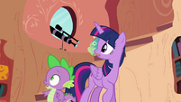 Twilight and Spike hear Pinkie outside S4E09