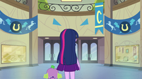 Twilight and Spike in empty hallway EG