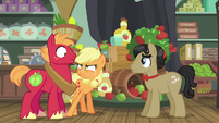 Young Applejack stomps on Big Mac's hoof S6E23