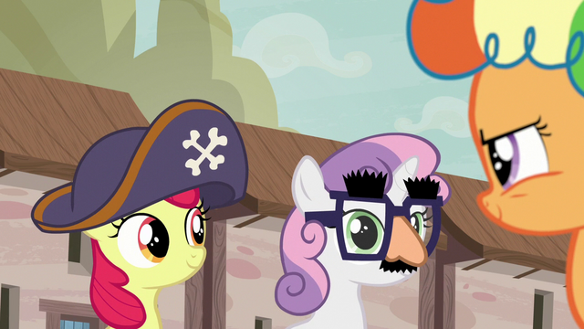 File:Apple Bloom and Sweetie Belle put disguises back on S7E8.png