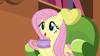 Fluttershy holding a teacup S5E7