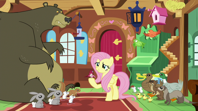 File:Fluttershy surrounded by her animal friends S7E5.png