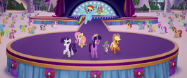 Main five and Spike sing on the finished stage MLPTM
