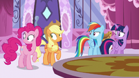 Main ponies looking at Fluttershy S6E9