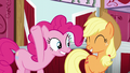 Pinkie and Applejack smile S5E11.png