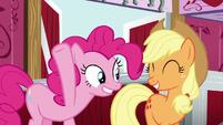 Pinkie and Applejack smile S5E11