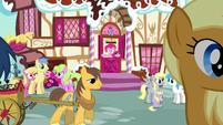 Ponies conversing outside Sugarcube Corner S5E19