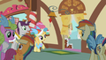 Ponies surprised at Pinkie's exit S02E08.png