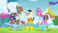 Rainbow and the Wonderbolts doing wing-ups S4E10