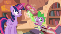 Spike burps out a letter from Celestia S4E03