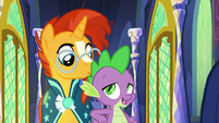 Spike nudging Sunburst with his elbow S8E8