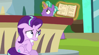 Starlight Glimmer hiding from Firelight S8E8