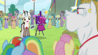 Timekeeper taking Ponyville team's photo S4E10