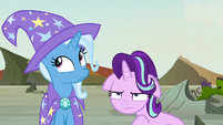 Trixie looking innocent; Starlight very annoyed S7E17