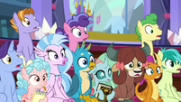 Young Six and students gasp at Twilight S8E15