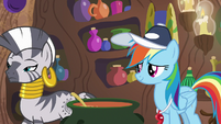 Zecora walks away from Rainbow Dash S9E15