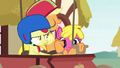 Applejack lounging in the driver's seat S6E14.png