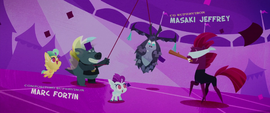Grubber and Fizzlepop and baby Hippogriffs with a Storm King piñata (film version) MLPTM
