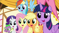 Main ponies and Spike looking at Gummy S8E18