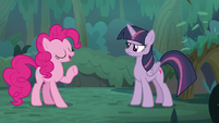 Pinkie Pie -at the bottom of the stairs- S8E13