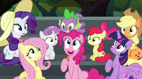Pinkie Pie pops up from under Spike S6E7