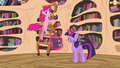 Pinkie Pie spinning around with the ladder in the library S4E18.png