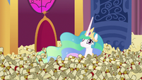 Princess Celestia in a sea of scrolls S6E15