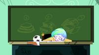 Principal Celestia collapses onto her desk SS8