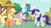 Rainbow Dash lightly kicks Fluttershy S8E18