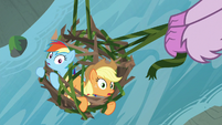 Rainbow and AJ look up from their cage S8E9