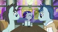 Rarity appears outside the diner window S6E12