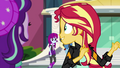Sunset Shimmer glancing at passing students EGS3.png