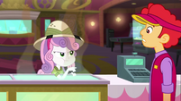 Sweetie Belle defiantly eats popcorn in front of cashier SS11