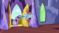 Twilight and Rainbow return to the castle S6E24
