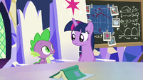 Twilight and Spike look at each other S9E4