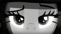 A close-up of Rarity's eyes S5E15