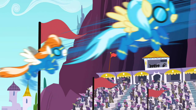 File:Accidental Wonderbolts appearing in the Derby out of nowhere S02E09.png