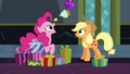 Applejack and Pinkie exchanging gifts S6E8.png