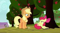 Applejack stomping her hoof at Apple Bloom S8E12