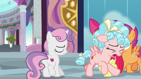 Cozy Glow runs past the Crusaders in tears S8E12