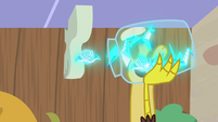 Discord catching flying napkins in a jar S7E12