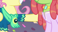 Fluttershy with a hoof on Tree Hugger S5E7